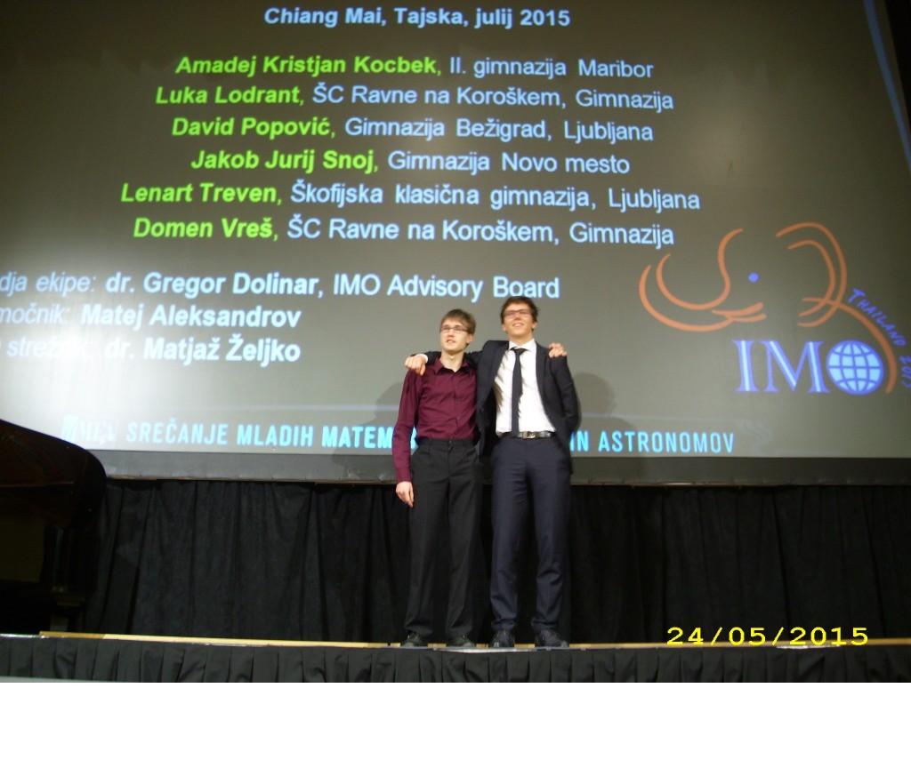 Luka LODRANT in Domen VREŠ med najboljšimi mladimi matematiki v Sloveniji !